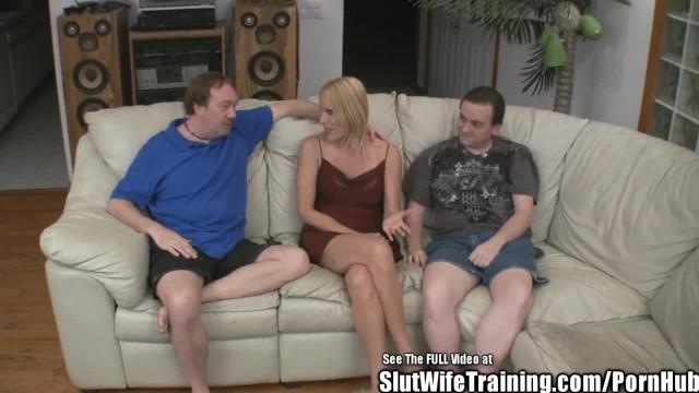 Fake Tits Blonde Wife Fucks two Slut Trainer Cocks