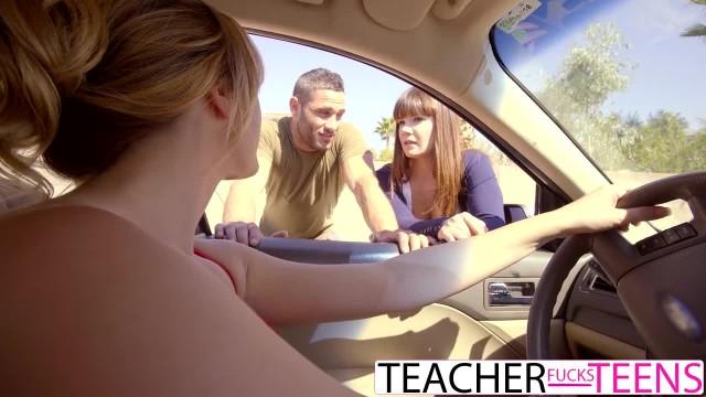 Hot Teacher Tricks Students into Threeway Fuck