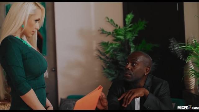DOMINANT BULL MONSTER BIG BLACK COCK FUCK HIS BLONDE ASSISTANT