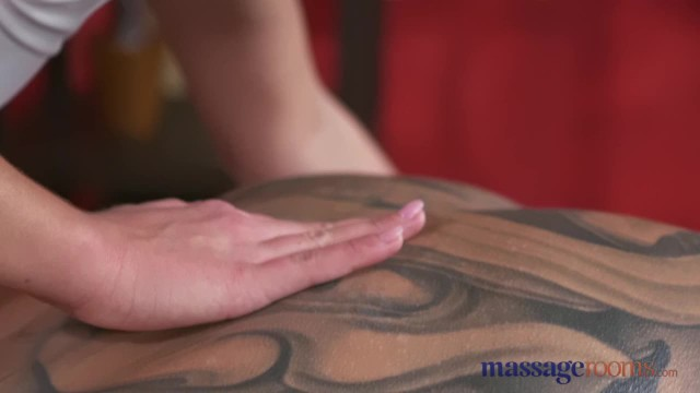 Massage Rooms Tight Bodied Brunette has Deep Orgasm and gets Covered in Cum
