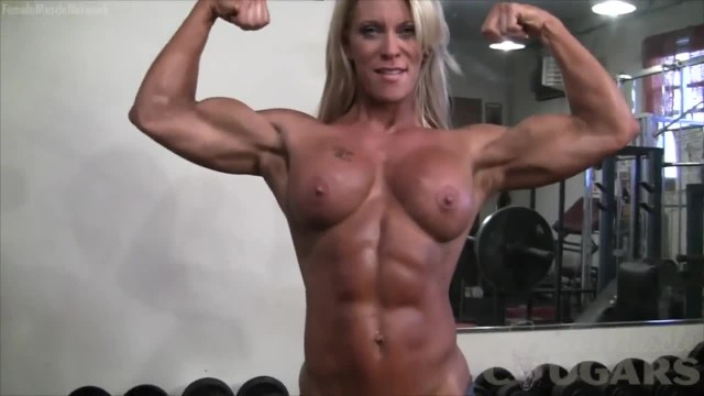 Muscle Woman Exercising Naked
