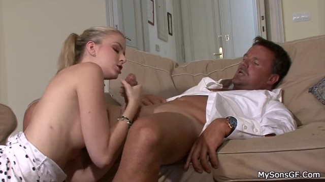Ponytailed Blonde Girl Caught Cheating Riding his Dad's Cock