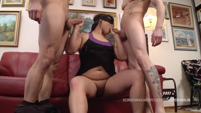 Chubby Danish Girl Sucks Two Cocks