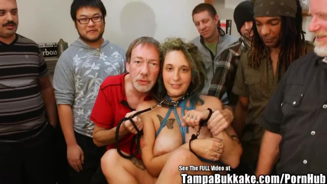 Pregnant ANAL Gangbang Babe with Tattoos Bukkake Party!