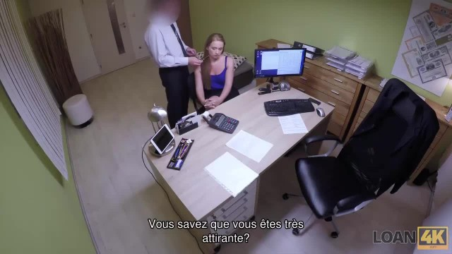 LOAN4K. Blonde Babes Comes to Loan Agent and has Wild Sex