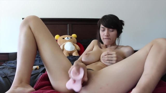 Camgirl with Huge Boobs Sits on Dildo then Unleashes a Massive Squirt