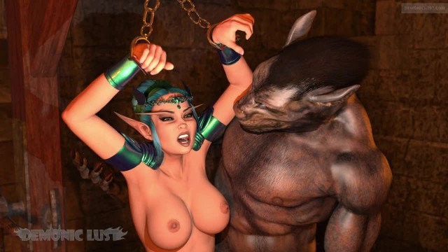 Elven Princess Humilated & Fucked in Dungeon by two Furry Lycan 3D Monsters