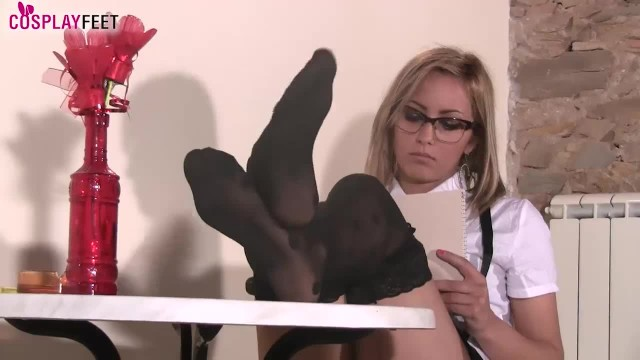 Cosplay Babe Feet Teasing in Stockings