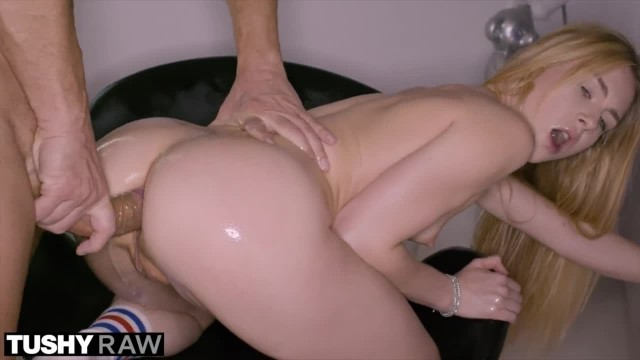 TUSHYRAW Blonde College Student gets Oiled and Gaped