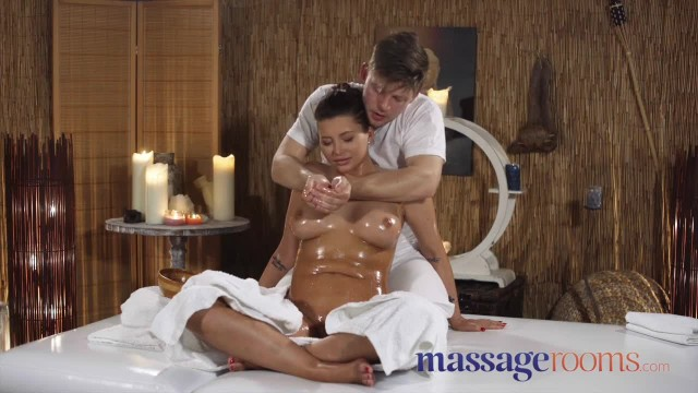 Massage Rooms Big Tits Russian Anna Polina Oiled and Riding Big Cock
