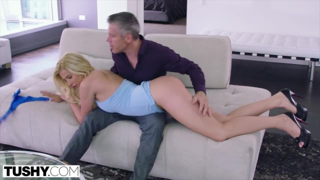 TUSHY Blonde Bombshell Wanted to be Gaped by her Professor by any Means