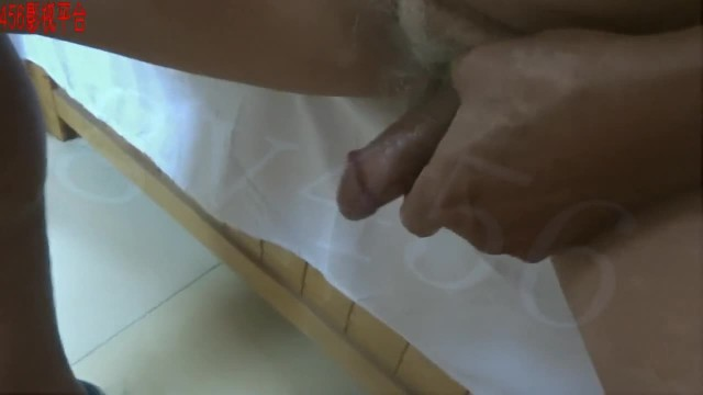 Chinese Grandpa Pumping his Dick for Quick Fuck