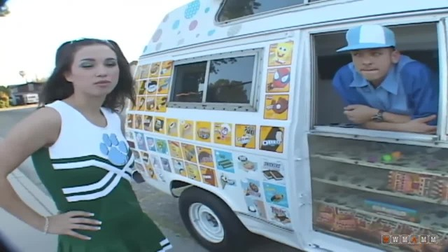 Sweet Brunette Teen Picked Up by The Icecream Truck