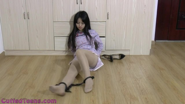 Cute Teen Tiantian Struggling Cuffed on the Floor