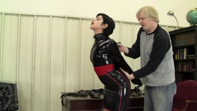 Latex and Armbinder with Amateur Sub