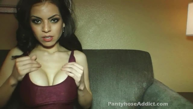 Gorgeous Busty Brunette Cooling her Horny Pussy with Vibrator