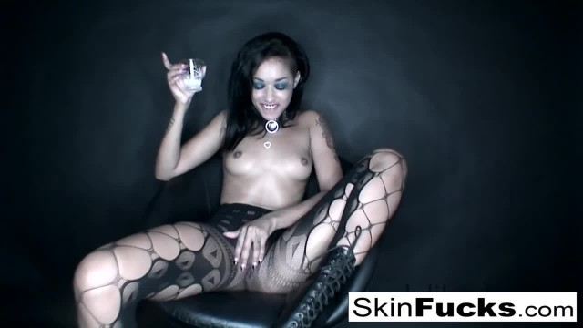 Skin Playing with her Tight Pussy Wearing Sexy Fishnets