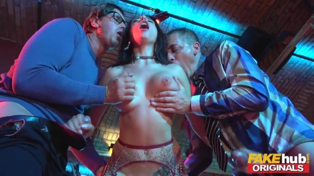 FAKEhub Sexy Stripper Takes two Big Cocks and has a Squirting Orgasm