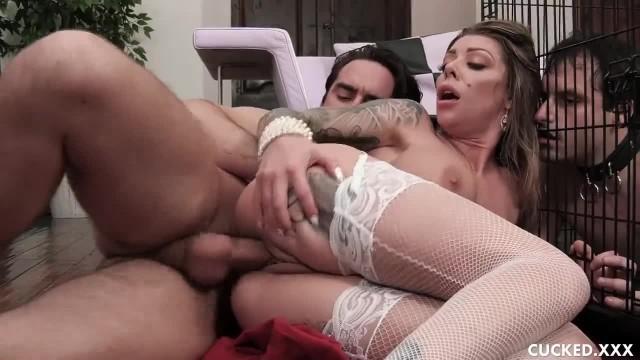 Big Tits Blonde Karma Rx Cucks her Caged Husband with A Salesman