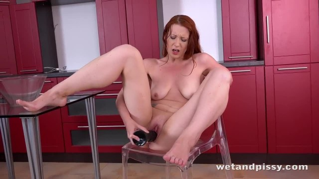 Ginger Mom Big Black Dildo Fun