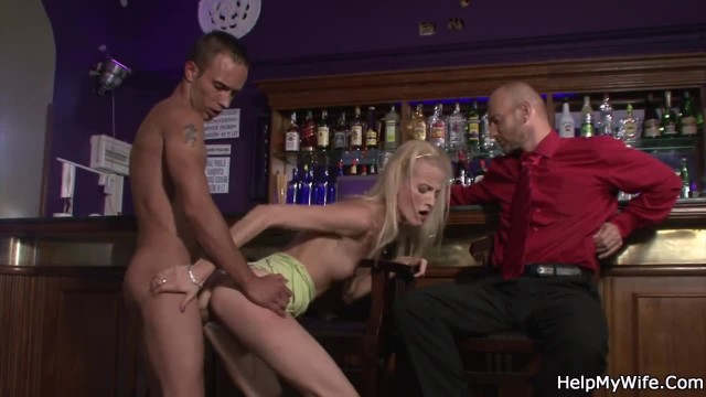 Barman Licks and Fucks his Young Blonde Wife for Money