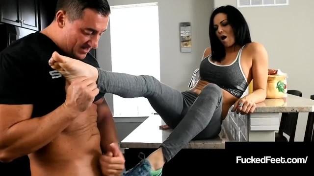 Foot Trainer Sarah Brooke Foot Fucks Lucky John's Cock!
