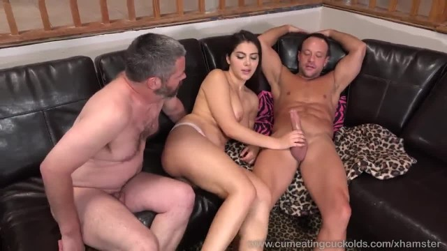 Wife Shares a Cock with her Husband and makes him Eat