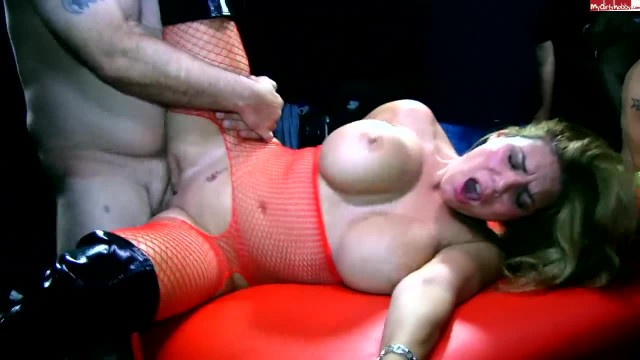 Hot German Girl with Big Tits gets Gangbanged and Creampied