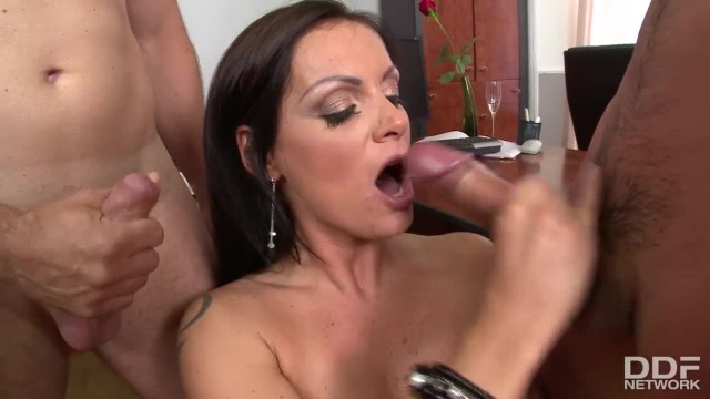 Deep Throat Double Cock Sucking at the Office with Cum-hungry Sheila Grant