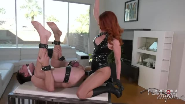 Redhead Mistress Pegging her Caged Pet Slave
