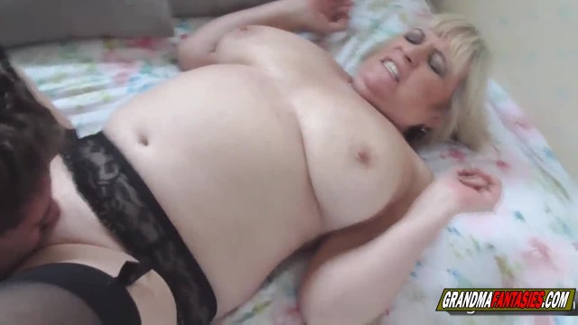 Desperate granny with big natural tits wants to fuck the young guy