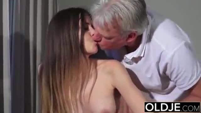Brunette Young Nymph Seducing Old Man into Kinky Fuck