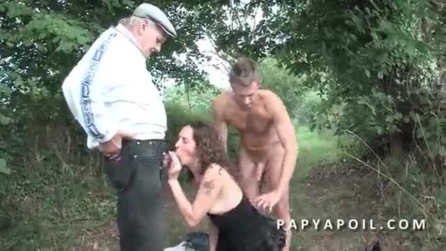Grandpa gets sucked in Wild Outdoor Threesome
