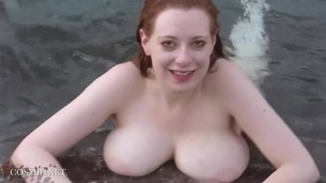 Curvy babe Misha Lowe shows her big boobs during sexy swimming