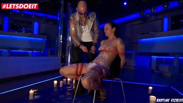 Gorgeous brunette gets her pussy spanked and covered in wax in BDSM fantasy