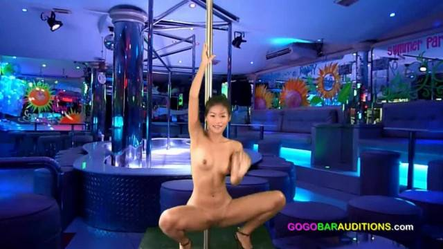 Sexy asian teen gives more than a lap dance at striptease casting