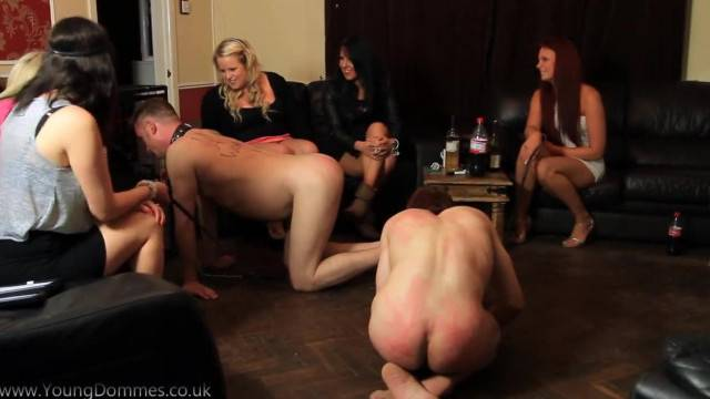 Humiliating tasks and intense shaming for pet slave boys at femdom party