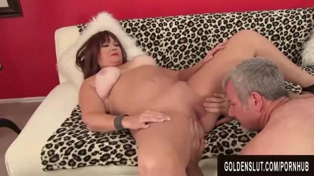 Cum slut BBW takes big load on her huge bouncing tits