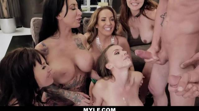 Bachelorette party turns into crazy gangbang when the strippers cum