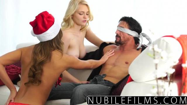 His Xmas Gift is two Girlfriends and a hot threesome