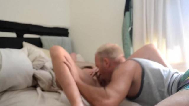 Amateur old guy licks clean his lover horny pussy