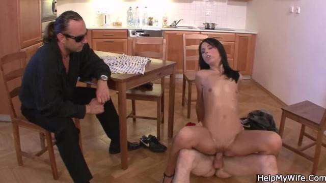 Small Titted Brunette Wife Sucks and Rides another Cock