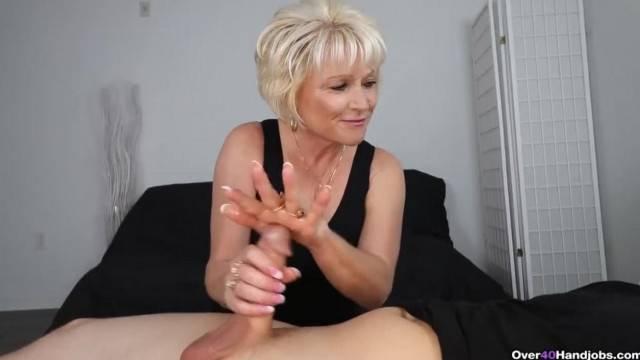 Blonde Granny gives experienced Handjob