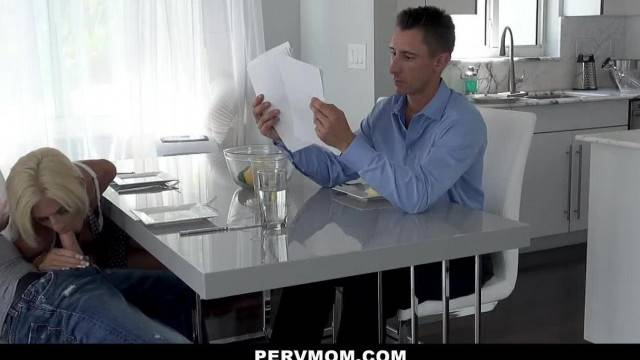 PervMom Horny Blonde MILF Jerks Stepson at Table