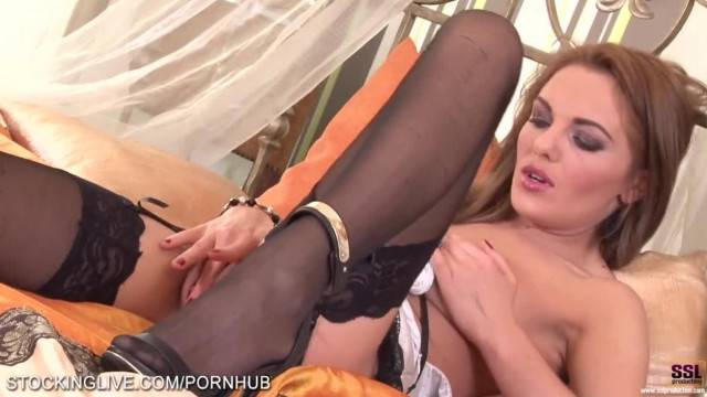 Czech Brunette gets Orgasm in her Sexy Stockings