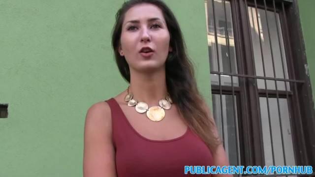 PublicAgent Big Tits Brunette Fucks for Cash in Public