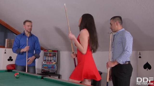 Young Teen Francesca DiCaprio DP ed Balls Deep on Pool Table