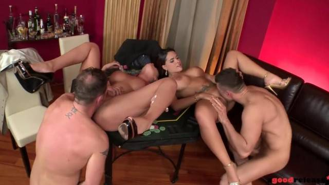 Poker in the Rear turns into hot group fuck