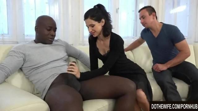 Wife and Cuck Talk a Black into Ass Sex