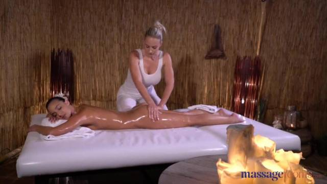 Passionate sensual massage for brunette and blonde lesbian duo